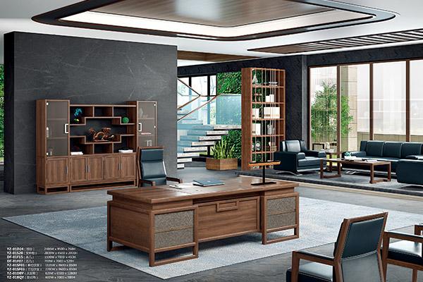 新中式传统全实木老板办公桌办公家具 雷诺