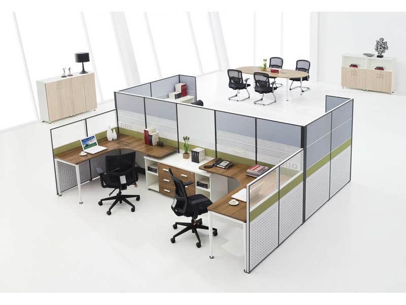 斑马纹台面主管区胶版屏风卡位办公桌椅V7+V5-0202D