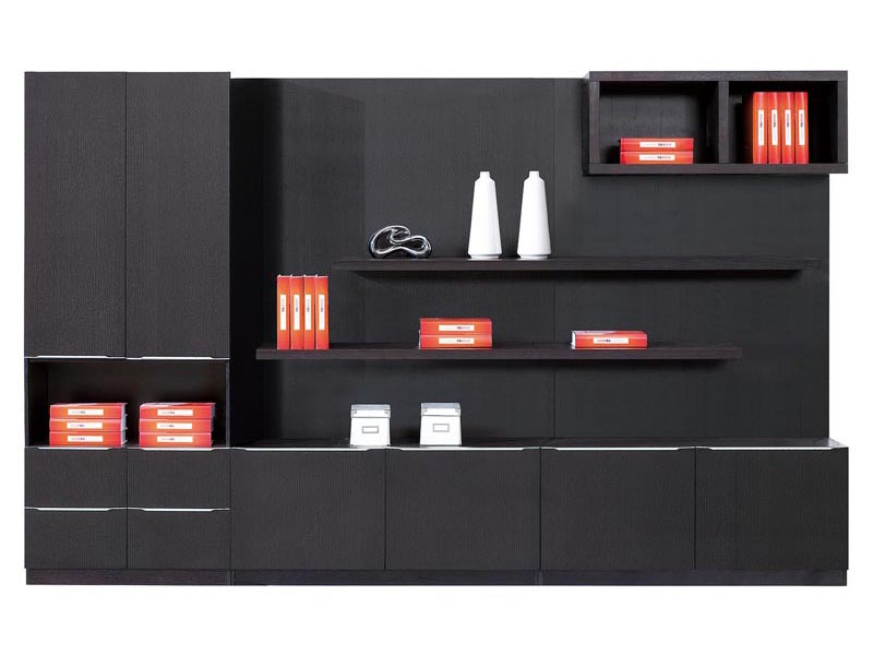 黑色低调开放黑橡木文件柜