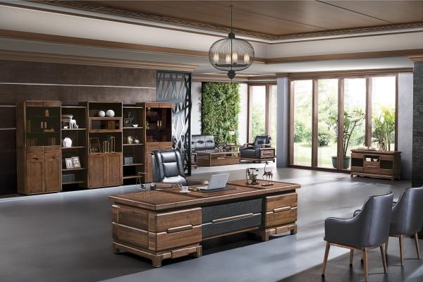 新中式古典传统纯实木老板班台-挪威森林