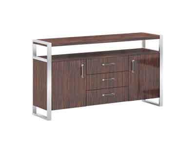 开放紫檀木不锈钢支撑结构简约茶水柜Q01H14