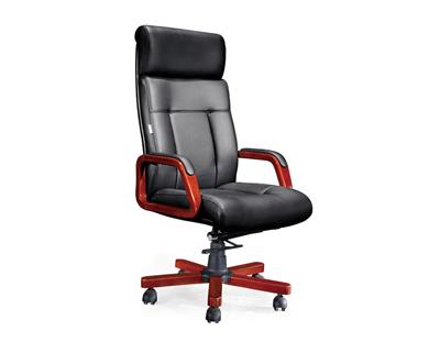 黑色可活动进口皮质总裁班椅SA105A