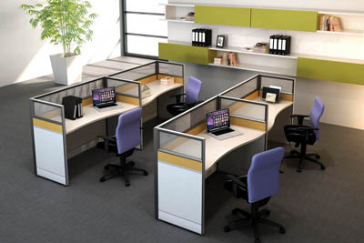 事业单位简约职员双人并排胶版办公桌椅V5-0802-25