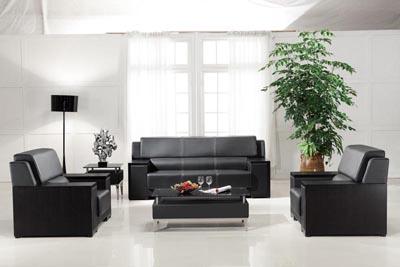 事业单位总裁洽谈用红橡黑色开放效果沙发DA8023