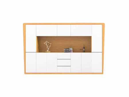 现代钢木结合开放金柚木总经理办公室大文件柜P01S32