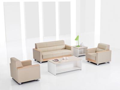 白橡胶版牛皮西皮洽谈简约沙发DA8032