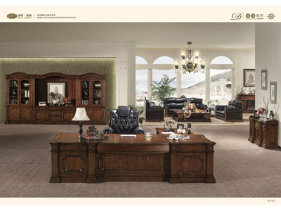 纯实木美式风格企业大班台办公桌GY-001DBT