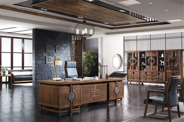 新中式古典传统纯实木老板班台-东方印象