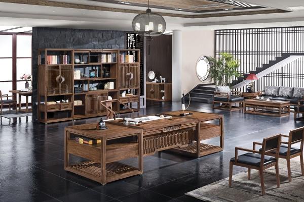 新中式古典传统纯实木老板班台-水墨江南