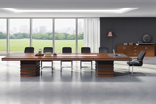事业单位会议室油漆斑马木皮会议桌EX-15-C48
