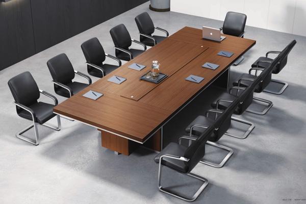 简约方形斑马纹总裁小会议12人洽谈台会议桌EX-01-C40