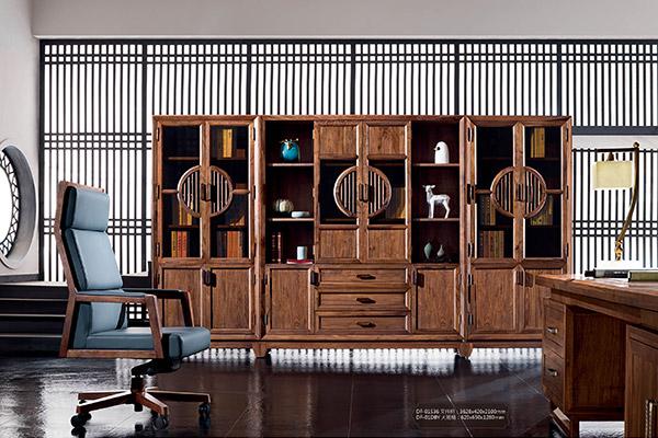 古典传统全实木办公室文件柜-水墨江南
