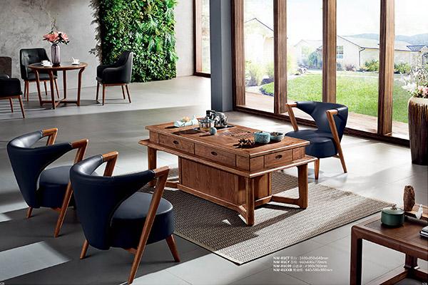 新中式古典实木茶几 老板休闲办公茶几-挪威森林