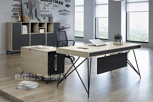 现代办公老板桌大班台办公室办公桌椅-几何