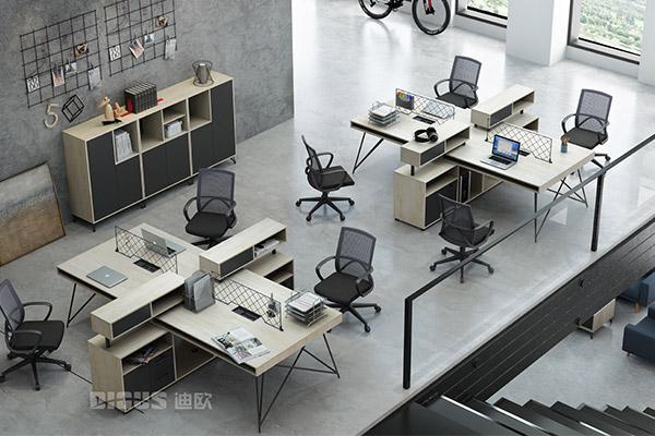 现代简约办公职员桌椅组合员工桌-几何