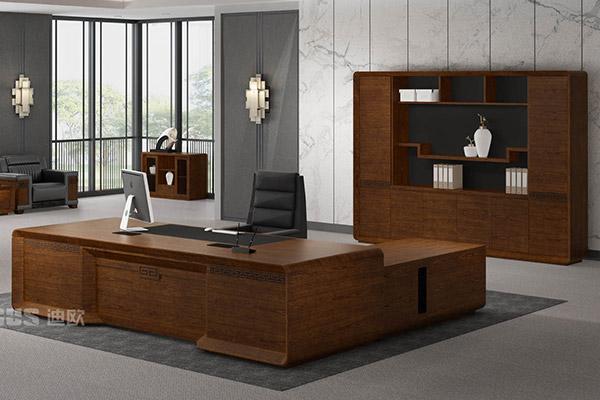 企业单位油漆胡桃木现代简约风格老板大班台-腾爵
