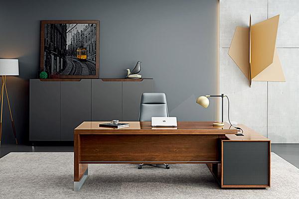 现代热销胡桃木材质主管经理办公桌 -小山纹