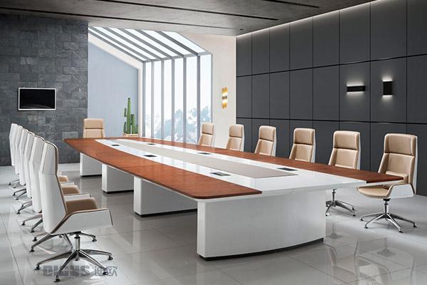 企业事业单位会议室油漆胡桃木大会议台洽谈桌-HT