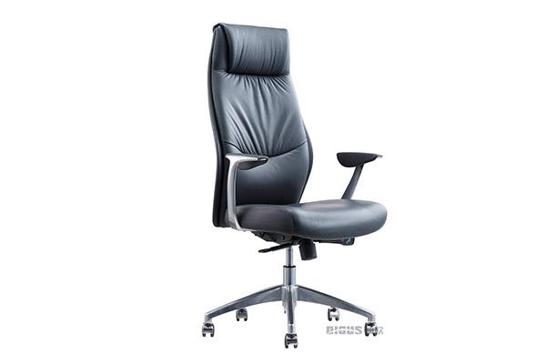 企业单位主管经理黑皮靠背办公椅